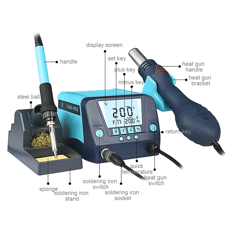 Bakon 2 years warrant BK881 hot air smd rework soldering station